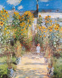 The Artist's Garden Premium Giclee Print by Claude Monet