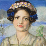 Bildnis Der Tochter Mary Gicléetryck på högkvalitetspapper av Franz von Stuck