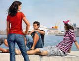 Beyond the Docks Giclee-tryk i høj kvalitet af Michele Del Campo