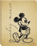 Disney Mickey Mouse - Mickey Sketch Romance Canvas Stretched Canvas Print