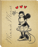 Disney Minnie Mouse - Minnie Sketch Romance Canvas Stretched Canvas Print