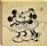 Disney Mickey & Minnie Mouse - Multi Mickey Sketch Minnie Kisses Mickey Canvas Stretched Canvas Print