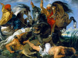 Jagd Auf Nilpferd und Krokodil Giclee-tryk i høj kvalitet af Peter Paul Rubens