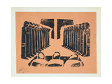 The Tribunal, from '13 Woodcuts by Siqueiros', Published 1931 Gicléetryck av David Alfaro Siqueiros