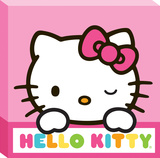 Hello Kitty Rainbow Border Canvas Stretched Canvas Print