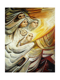 Women in Flight; Mujeres En Huida, 1970 Gicléetryck av David Alfaro Siqueiros