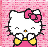 Hello Kitty Laughing Pink Pattern Canvas Gallery Wrapped Canvas