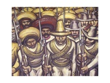 Emiliano Zapata and Francisco Pancho Villa Among Soldiers Gicléetryck av David Alfaro Siqueiros