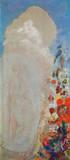 Frauengestalt und Blumen Giclée-Premiumdruck von Odilon Redon