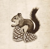 Vintage Lodge Squirrel Prints by Morgan Yamada