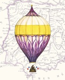 Vintage Purple Air Balloon Art by Hope Smith