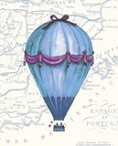 Vintage Blue Air Balloon Posters by Hope Smith