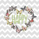 Butterfly Happy Prints by Bella Dos Santos