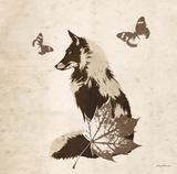 Vintage Lodge Fox Art by Morgan Yamada