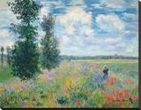 Les Coquelicots Sträckt Canvastryck av Claude Monet