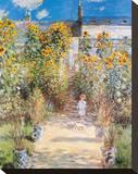 Le jardin de l'artiste Reproduction sur toile tendue par Claude Monet