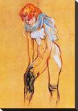 Femme, Qui Tire Son Bas Reproducción en lienzo de la lámina por Henri de Toulouse-Lautrec