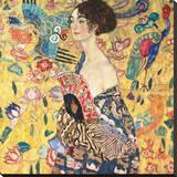 Dame mit Fächer Reproducción en lienzo de la lámina por Gustav Klimt