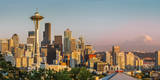 Setting sunlight on the Seattle skyline, Washington USA Photographic Print by Brian Jannsen