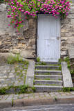 Stone wall with a wooden door and roses, Montmartre, Paris, France. Photographic Print by Brian Jannsen