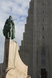 Iceland, Reykjavik, Hallgrimskirkja Church, Statue of Leif Eriksson. Photographic Print by Bill Young