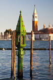 Italy, Venice, Evening View of San Giorgio Maggiore and Gondola tower. Photographic Print by Terry Eggers