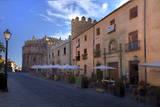 Spain, Castilla y Leon Region. Restaurants along the city of Avila. Photographic Print by Julie Eggers