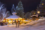USA, Washington, Leavenworth City Park, decorated with holiday lights. Photographic Print by Jamie & Judy Wild