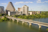USA, Texas, Austin. Downtown Skyline, Colorado River, and Bat Bridge. Photographic Print by Randa Bishop
