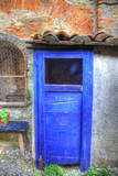 Italy, Monterigioni, Old Hand Painted Doors in Back Alley of Town. Photographic Print by Terry Eggers