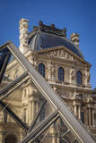 Glass pyramid and architecture of the Musee du Louvre, Paris, France. Photographic Print by Brian Jannsen