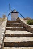 Spain, Toledo Province, Consuegra. Stairway to a La Mancha windmill. Fotografisk tryk af Julie Eggers