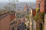 Mexico, San Miguel de Allende. Street scene with overview of city. Photographic Print by Don Paulson