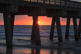 USA, Georgia, Tybee Island, Tybee Pier at sunrise. Photographic Print by Joanne Wells