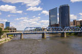 Pedestrian bridge and downtown skyline, Grand Rapids, Michigan, USA Photographic Print by Randa Bishop