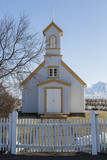 Iceland, Reynistadur. Schoolhouse behind picket fence. Photographic Print by Bill Young