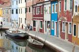 Houses on the waterfront, Burano, Venice, Veneto, Italy. Photographic Print by Nico Tondini