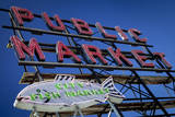 Pike Place Market sign near the waterfront, Seattle, Washington, USA Photographic Print by Brian Jannsen