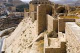 Walls of the crusader fort of Kerak Castle, Kerak, Jordan. Photographic Print by Nico Tondini