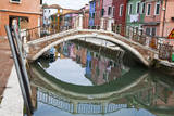 Colorful Houses along the Canals of Burano and reflections. Photographic Print by Terry Eggers