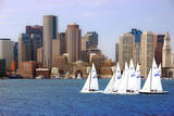 USA, Massachusetts. Boston waterfront skyline with sailboats. Photographic Print by Anna Miller