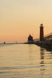 Grand Haven Lighthouse and South Pier at sunset, Michigan, USA Photographic Print by Randa Bishop