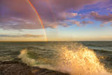 USA, New York, Lake Ontario, Clark's Point. Double rainbow over lake. Photographic Print by Fred Lord