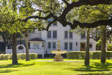 USA, Texas, Austin. Fountain and twisted oak trees at Laguna Gloria. Photographic Print by Randa Bishop