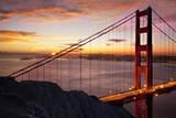 Sunrise above the Golden Gate Bridge, San Francisco, California, USA Photographic Print by Brian Jannsen