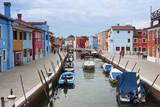 Houses on the waterfront, Burano, Venice, Veneto, Italy. Photographic Print by Nico Tondini
