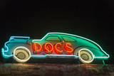USA, Texas, Austin. Neon sign for Doc's Motorworks. Photographic Print by Randa Bishop