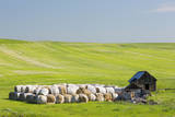 USA, Montana, Fergus County, Hay bales and barn. Photographic Print by Jamie & Judy Wild