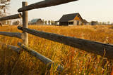 Farm house and rail fence in Grand Teton National Park. Photographic Print by Larry Ditto