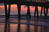 USA, Georgia, Tybee Island, Pier at Tybee Island beach at sunrise. Photographic Print by Joanne Wells